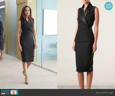Jessica's black wrap dress on Suits. Outfit Details: http://wornontv.net/50946/ #Suits