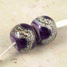 Purple Handmade Lampwork Glass Bead Pair 14x11mm by SpawnOfFlame