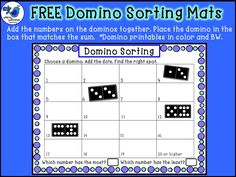 FREE Domino Sorting Mats and Printable Dominos by Whimsy Workshop Teaching Math Classroom, Kindergarten Math, Teaching Math, Teaching Ideas, Classroom Ideas, Math Stations, Math Centers, Math Resources, Math Activities