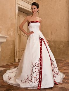 Wedding Dress A Line Chapel Train Organza Satin Strapless With Embroidery Crystal Detailing and Split Front - USD $ 179.99