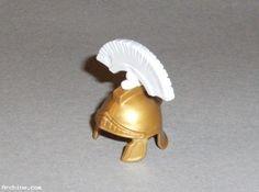 Playmobil accessoire chevalier - casque romain or - toupet blanc  (R4)
