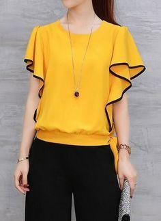 Quero a descrição do molde desta blusa amarela