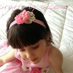 Pink chevron, chiffon flower, pink lace, baby headband, pink rhinestone headband, summer headband, photo prop, summer headband, - pinned by pin4etsy.com