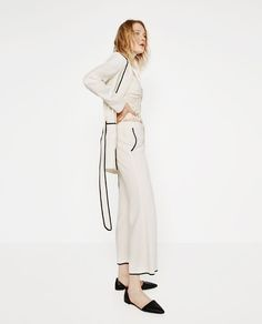 Image 1 of CROPPED BELL BOTTOM TROUSERS from Zara