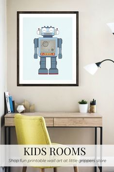 This Robot art print is a great way to decorate kids walls. The printable file is an easy way to bring some colour into a gender-neutral playroom, nursery or, big kids room.  #Robots #Robotdecor #kidsroom #bedroomdecor #toddlers #nzprint #printshop #vintagekids