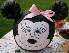 8 Halloween Pumpkin Ideas. This Minnie Mouse Halloween Painted Pumpkin is so cute! LivingLocurto.com