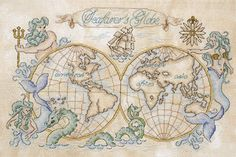 Cross stitch pattern vintage map