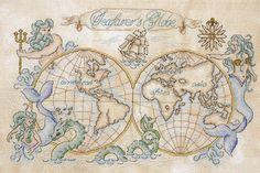 Cross stitch pattern vintage map