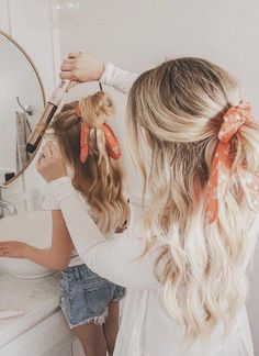 Mom and me hair ideas - mom and daughter twinning - hair scarf Cute Hairstyles, Halloween Hairstyles, Hairstyles Videos, School Hairstyles, Office Hairstyles, Anime Hairstyles, Stylish Hairstyles, Braided Hairstyles, Hairstyle Short
