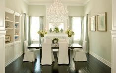 Dining room.  Dark wood + light walls + Shelves + Drapes.  Change to a smaller Chandalier. Aqua Dining Rooms, Dining Room Colors, Green Dining Room, Green Kitchen, Dining Decor, Dinning Table, Dining Area, Dining Chairs, Mint Walls