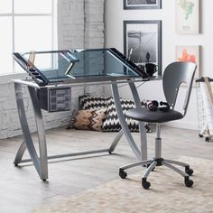 Studio Designs Futura Advanced Drafting Table with Side Shelf Set with Chair - Drafting & Drawing Tables at Hayneedle Mesa Metal, Drawing Desk, Drawing Tables, Studio Table, Home Studio, Modern Drawing, Design Brochure, Layout, Design Studio