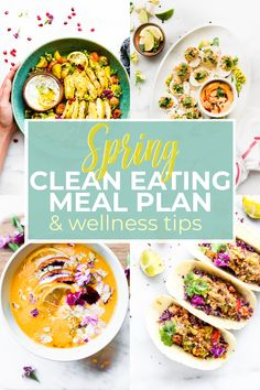 This spring clean eating meal plan, along with our wellness tips, can help you improve your overall health. clean eating can be seen as a fad diet or detox, Healthy Detox, Healthy Meal Prep, Healthy Snacks, Healthy Eating, Healthy Nutrition, Nutrition Tips, Healthy Gluten Free Recipes, Whole Food Recipes, Vegetarian Recipes