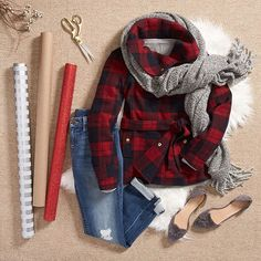 Our favorite holiday music? Wrap! Beat the festive flurry in a flannel coat & fringe scarf. #wrapartist