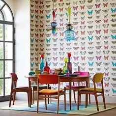 Dining rooms | Butterflies | Pattern | Feature wallpaper | Modern | Livingetc