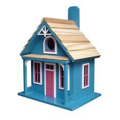 Amazon.com : Home Bazaar- Hand-made Santa Cruz Cottage Blue Bird house - Small Bird House - Home Decor : Garden & Outdoor #decorativebirdhouses