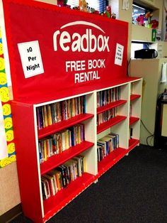 """From Red Box to """"Readbox"""" . love the play on words! What a great idea for a bulletin board (i., red paper background & staple book jackets), your classroom library display, or the school's library with teacher/student recommendations! Classroom Setting, Classroom Setup, Classroom Design, Future Classroom, Classroom Organization, Creative Classroom Ideas, Classroom Libraries, Reading Corner Classroom, Classroom Pictures"""