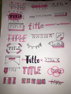 About fonts - I have some nice headlines for you so that you have, for example: nicer homework exercises 😊 ♥ - Bullet Journal Titles, Bullet Journal Banner, Bullet Journal Lettering Ideas, Bullet Journal Notebook, Book Journal, Journal Writing Prompts, Journal Aesthetic, Simple Doodles, School Notes