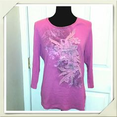 Flora & Paisley Pretty Pink Top Beautifully decorated pink top by Westbound; 100% cotton; true size large in Missy size, great condition,  no issues. Westbound  Tops Tees - Long Sleeve