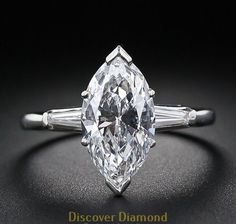 Solid 14k white gold 2.00 ct marquise cut diamond engagement ring #discoverdiamonds #Solitaire