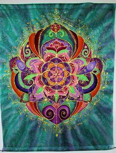 mandala art Rebirth silk wall hanging by HeavenOnEarthSilks