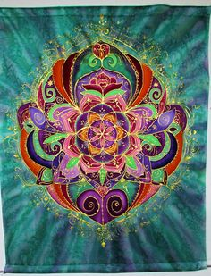 mandala art Rebirth silk wall hanging by HeavenOnEarthSilks