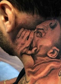 Inner Demon – I've never been big on neck tats, but this one makes me recons… - diy tattoo images Hand Tattoos, Kritzelei Tattoo, Neck Tattoos, Unique Tattoos, Body Art Tattoos, Sleeve Tattoos, Tatoos, Amazing 3d Tattoos, Money Tattoo