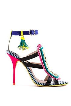 Colorful sandals with purple, pink, yellow, black & white stripes, green, blue, black and tassels