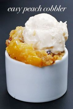 Easy Slow Cooker Peach Cobbler: 2 21 oz cans of peaches, 1 box of vanilla cake mix, 8 oz unsalted butter, 1/3 cup walnuts and cook 2-2.5 hours. #dessert #crockpot #peach