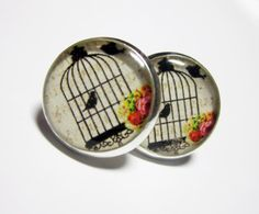 Bird Cage in Roses Resin Post Silver Earrings by MyBlossomCouture