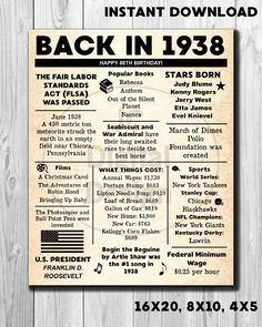 80th Birthday NEWSPAPER Poster, 1938 Facts INSTANT DOWNLOAD