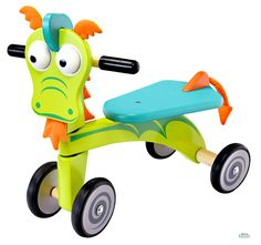 Triciclo in Legno Cavalcabile DRAGO cm 49x44x30 per bambini. Primi Passi. Età 18 Mesi. I'm Toy.