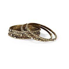 Hive & Honey Textured Bangle Set ❤ liked on Polyvore featuring jewelry, bracelets, metal bangles, bracelets bangle, hinged bangle, bangle jewelry and bangle bracelet