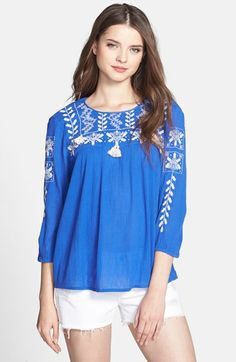 Lucky Brand 'Dazzling' Embroidered Top | Nordstrom
