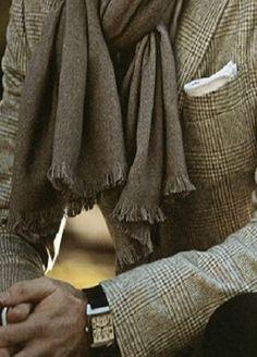 ...Glen plaid jacket and a tweed scarf