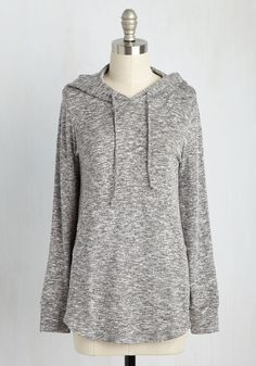 Snuggled in Softness Top in Pebble. Wrap yourself in casual charm with this heather-grey top! #grey #modcloth