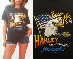 ★★★ AMAZING 1986 Vintage Harley Davidson Born In The USA American bald eagle tee! Back has a KILLER Abilene, Texas themed desert illustration. Front features a bald eagle design with American flag. Made of 50% Polyester 50% Cotton by Holoubek. Unisex! Excellent vintage condition. Great find! ★★★   ✂ Measurements ( taken laying flat )  Labelled size: Mens L / will fit XL on ladies  Width: 21: Length: 27 Shoulders: 20.5  Model is 56 / Size Small / Size 4 Condition: Excellent vint...