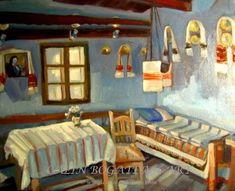Interior țărănesc românesc peisaj în ulei pictură pe pânză peisagistică realistă hiperrealistă pe pânză picturi executate de pictorul comtemporan Călin Bogătean membru al Uniunii Artistilor Profesionisti din Romania. Peisaje originale unicat Interior țărănesc românesc Painting, Painting Art, Paintings, Painted Canvas, Drawings