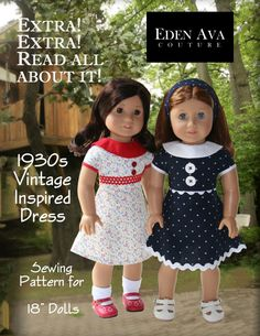 """Eden Ava Couture 1930s Vintage Inspired Dress Sewing Pattern for 18"""" American Girl Doll on Etsy, $3.99"""