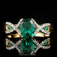 Cushion cut - Synthetic Emerald Ring with Diamond Accents