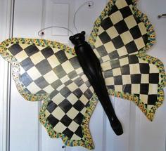 Table Leg Butterfly Wall or Garden Art- MacKenzie-Childs, black and white, checks, whimsical. $85.00, via Etsy.
