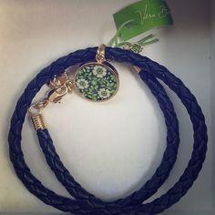 "Vera Bradley Bracelet Vera Bradley Charm bracelet ""lucky you"". Navy blue leather band with super cute gold and lime green charm. Vera Bradley Jewelry Bracelets"