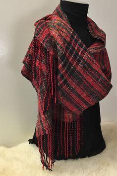 Handwoven Scarf/Shawl, Elegant Red, Gray & Black Tones, Handmade, Luxurious Wrap, Soft, Fringe, Unique, Gift by DianeHamillFiberArt on Etsy