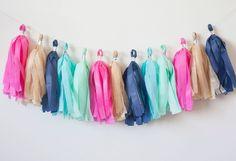 Navy, Hot Pink, Gold, Aqua, Mint Tassel Garland (12) by LoveGarlands on Etsy https://www.etsy.com/uk/listing/230908060/navy-hot-pink-gold-aqua-mint-tassel