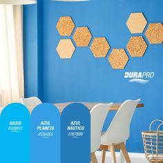El color azul transmite calma,  es relajante y sereno, recomendado para habitaciones y baños.  DURAPRO te ofrece varios para que pintes tus espacios! probálos!  www.durapro.com.ar/simulador-de-colores Color Azul, Home Decor, Relaxer, Calm, Spaces, Blue Nails, Home, Decoration Home, Room Decor