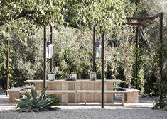 Metal Pergola The Ranch at Live Oak Malibu : Remodelista Outdoor Rooms, Outdoor Gardens, Outdoor Dinning Table, Outdoor Seating, Dining Area, Dining Room, Landscape Design, Garden Design, Garden Structures