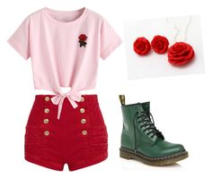 """rose"" by unikitty864 on Polyvore featuring Pierre Balmain, WithChic and Dr. Martens"