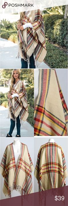 """Cozy Chic Plaid Sweater Kimono Wrap O/S Be cozy & cute in this adorable plaid kimono cardigan wrap blanket scarf. Soft light-midweight acrylic knit in taupe, black red & yellow with fringe hem. Love it so much.  Poncho - kimono wrap - blanket scarf style cardi WITHOUT armholes. Oversized slouchy loose fuzzy  46"""" x 35"""" One Size Fits Most long Available in black in separate listing Sweaters Cardigans"""