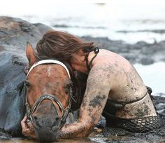 woman rescues horse