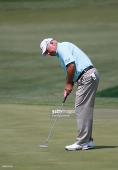 Mark O'Meara putts on the 18th green during the opening round of the Mitsubishi Electric Classic tournament at the TPC Sugarloaf Golf Club on Friday, April 14, 2017, in Duluth, GA