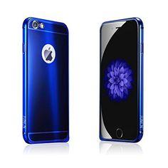 JUNCH iPhone6s plus ケース 衝撃吸収バンパー アルミカバー 光沢 カラフル アンチスクラッチ 耐衝撃 iPhone6 plus 5.5インチケースカバー青)